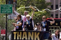 La coppa del Mondo della FIFA sostiene la parata nazionale del cuore-nastro della squadra di calcio delle donne degli Stati Uniti Fotografie Stock