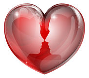 La coppia affronta il cuore Fotografie Stock