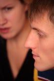 La coppia affronta il litigio Fotografia Stock