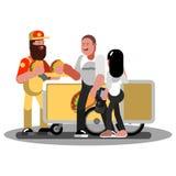 La coppia compra gli alimenti a rapida preparazione in carrello illustrazione vettoriale