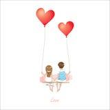 La coppia dell'amante del fumetto sta sedendosi sull'oscillazione rossa del pallone del cuore, essendo sul fondo bianco, il conce Immagine Stock