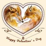 La coppia di baciare foxes nel telaio a forma di cuore Fotografia Stock