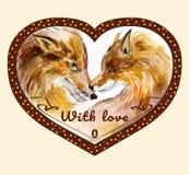 La coppia di baciare foxes nel telaio a forma di cuore di marrone del pois Immagini Stock Libere da Diritti