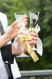 La coppia di Weding tiene un vetro con champagne Fotografia Stock Libera da Diritti
