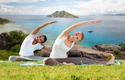 La coppia felice che fa l'yoga si esercita all'aperto Fotografia Stock Libera da Diritti