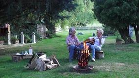 La coppia gode della canzone divertente che la giovane donna gioca sulla chitarra, entrambe deve ridere a questo proposito stock footage