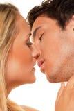 La coppia ha divertimento. Amore, eroticism e tenerezza Immagini Stock