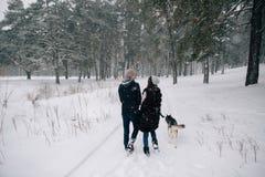 La coppia nell'amore cammina con il cane del husky nel giorno di inverno fotografia stock