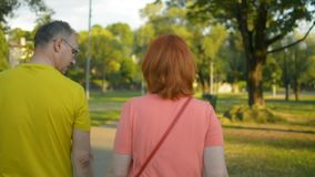 La coppia sposata in vestiti variopinti dell'estate cammina in parco nel tramonto di sera tardi archivi video