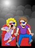 La coppia sta guardando un film di film di orrore 3d in un cinema illustrazione vettoriale
