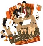 La coppia sta riposando nel paese con l'animale domestico illustrazione vettoriale