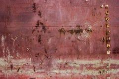 La coque rouge de bateau avec la ligne de flottaison et l'ébauche mesurent la mesure Images libres de droits