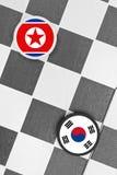 La Corée du Nord contre la Corée du Sud photographie stock libre de droits