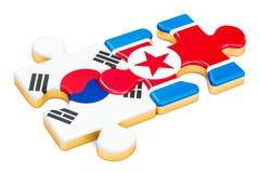 La Corée du Nord et la Corée du Sud déconcerte des drapeaux, le rendu 3D Images stock