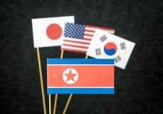La Corée du Nord, les Etats-Unis d'Amérique Etats-Unis, la Corée du Sud et le Japon Image libre de droits