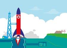 La Corée du Nord ou le NoKor examine son concept de missile balistique ou de Rocket Orbit Satellite Clipart (images graphiques) E Photographie stock libre de droits