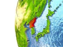 La Corée du Nord sur le globe illustration libre de droits