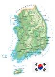 La Corée du Sud - carte topographique détaillée - illustration Photographie stock libre de droits