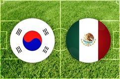 La Corée du Sud contre le match de football du Mexique Photo libre de droits