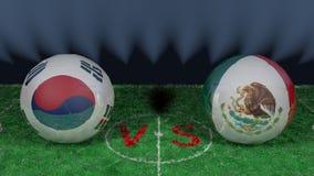 La Corée du Sud contre le Mexique Coupe du monde 2018 de la FIFA Image 3D originale Image stock