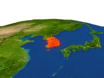 La Corée du Sud en rouge d'orbite illustration libre de droits
