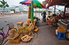 La Corée du Sud, marchand ambulant végétal Photographie stock libre de droits