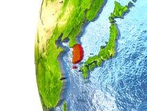 La Corée du Sud sur le globe illustration libre de droits