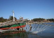 La Corée traditionnelle - bateau de crevette Photographie stock