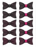 La corbata de lazo negra con los puntos rosados fijó el ejemplo realista del vector Fotografía de archivo