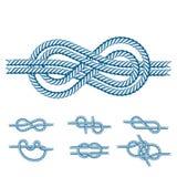 La corda di barca del mare annoda il segno naturale dell'attrezzatura del cavo marino della marina isolato illustrazione di vetto illustrazione di stock