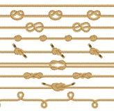 La corda di Brown annoda la raccolta Elementi grafici Immagini Stock