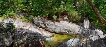La corde et le fil ont suspendu le pont accrochant à travers une rivière de jungle en EL Éden par Puerto Vallarta Mexique où des  Photos stock