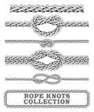 La corde noue la collection Renversé, chiffre de huit et noeud carré Éléments décoratifs sans couture Photographie stock