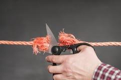 La corde rouge est coupée Photo libre de droits