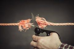 La corde rouge est coupée Images libres de droits
