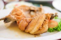 La cordelette cuite à la friteuse a complété avec le Se doux de sauce et de légume à poissons photo libre de droits
