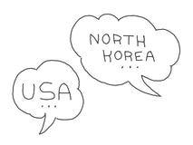 La Corea del Nord e bolla di dialogo di U.S.A. Conflitto internazionale Illustrazione disegnata a mano delle azione di vettore illustrazione vettoriale
