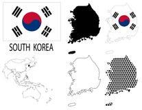 La Corea del Sud - mappe di contorno, vettore della mappa dell'Asia e della bandiera nazionale illustrazione vettoriale
