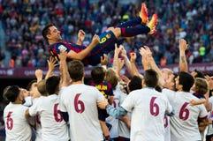 La Corogne Liga - Espanha de Xavi Hernandez FC Barcelone v Imagem de Stock