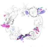 La corona del fiore con il contorno della matita e la spruzzata dell'acquerello su fondo bianco per l'invito progettano Fotografie Stock