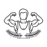 la corona di contorno va con il mezzo uomo del muscolo del corpo con la camicia unsleeved Fotografia Stock