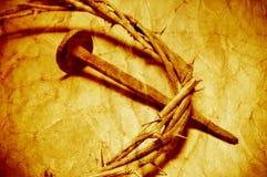 La corona di Jesus Christ delle spine con un retro effetto del filtro Fotografia Stock