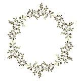 La corona hojea marco circular ilustración del vector