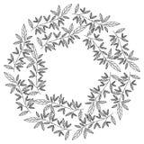 La corona hojea marco circular stock de ilustración
