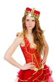 La corona que lleva de la princesa y el vestido rojo aislados Imagen de archivo