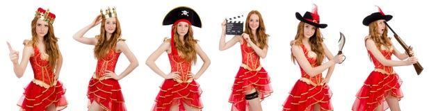 La corona que lleva de la princesa y el vestido rojo en blanco Foto de archivo libre de regalías