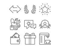 La corona, la sincronizzazione ed il rango dell'alloro star le icone Il contenitore di regalo, di portafoglio e la lampada di ide Immagini Stock Libere da Diritti