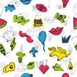 La correction sans couture drôle de bande dessinée badges le modèle avec des lèvres, astranaut, chat, l'oeuf, watermlon pour la m Photographie stock libre de droits
