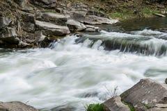 La corrente della rapida del fiume della montagna Fotografia Stock Libera da Diritti