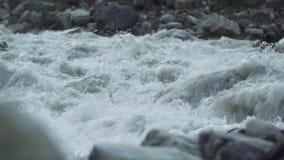La corriente pedregosa de los rápidos del río furioso de la montaña con blanco salpica almacen de metraje de vídeo